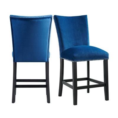 Set of 2 Celine Velvet Counter Height Barstools Blue - Picket House Furnishings