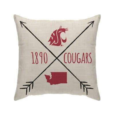 NCAA Washington State Cougars Cross Arrow Decorative Throw Pillow