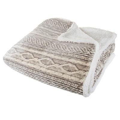 Flannel & Sherpa Blanket - (Full/Queen)- Gray/Beige