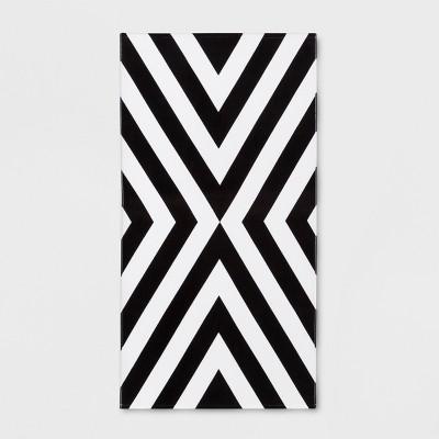 Chevron Beach Towel Black/White - Sun Squad™