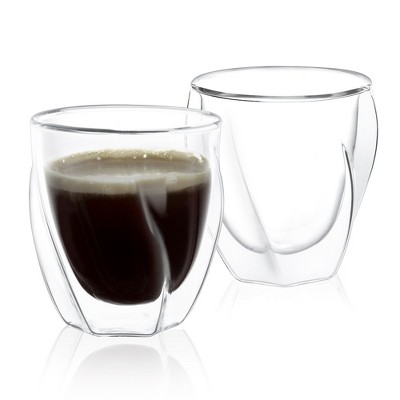JoyJolt Lacey Double Wall Glasses  - Set of 2 Thermo Insulated Tumblers - 8.5 ounces