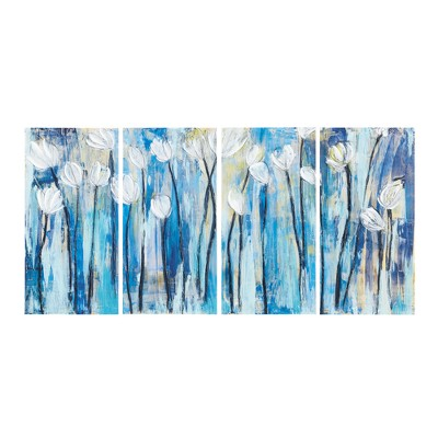 "(Set of 4) 15"" x 30"" Ocean Breeze Blossom Gel Coat Printed On Canvas Blue"