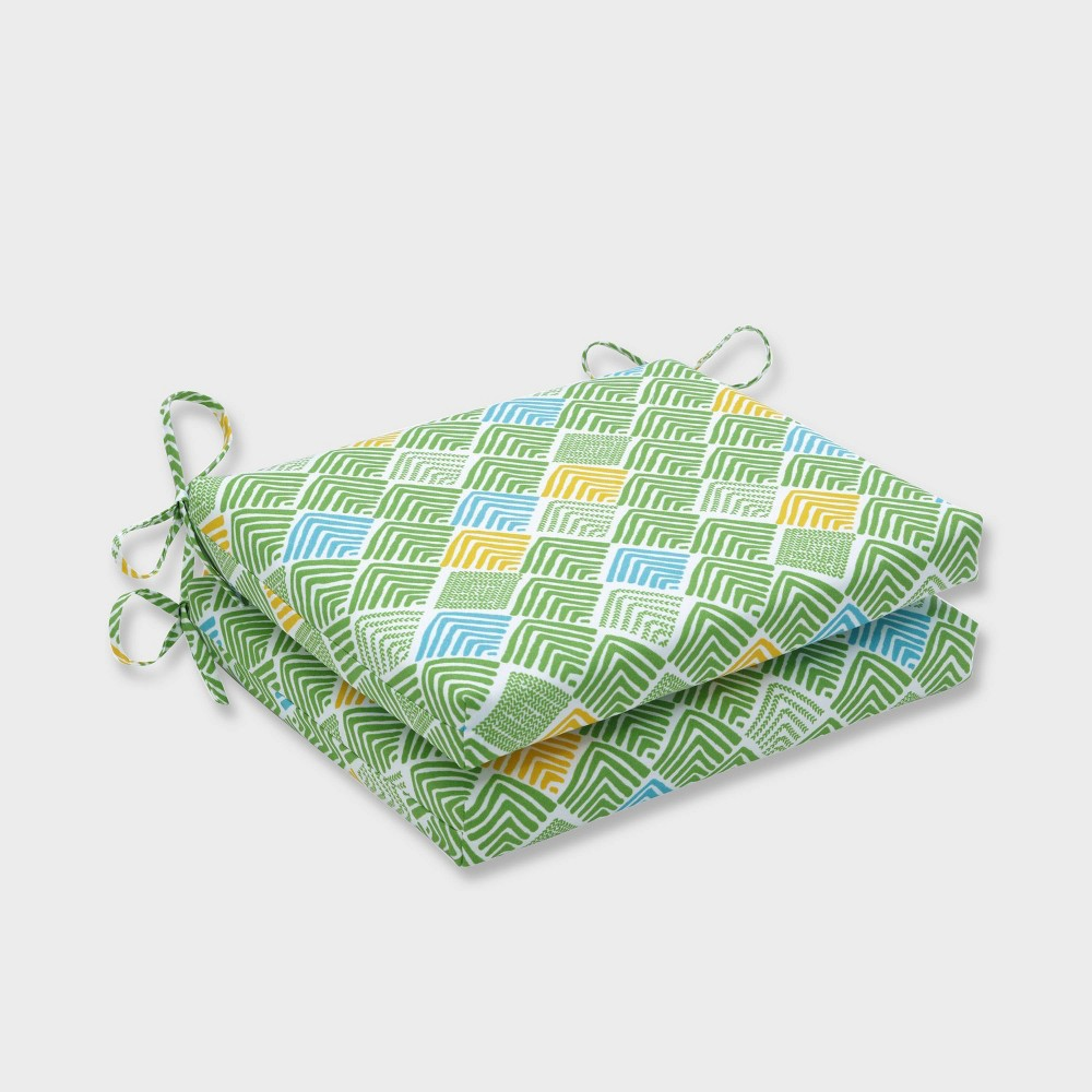2pk Belk Seaglass Squared Corners Outdoor Seat Cushions Green - Pillow Perfect