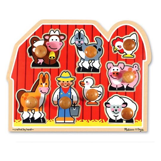 Melissa & Doug Jumbo Knob Wooden Puzzles - Shapes and Farm Animals 2pc image number null