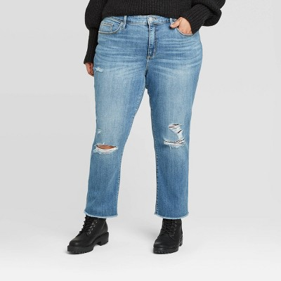 Women's Plus Size High-Rise Distressed Straight Cropped Jeans - Universal Thread™ Light Wash 14W