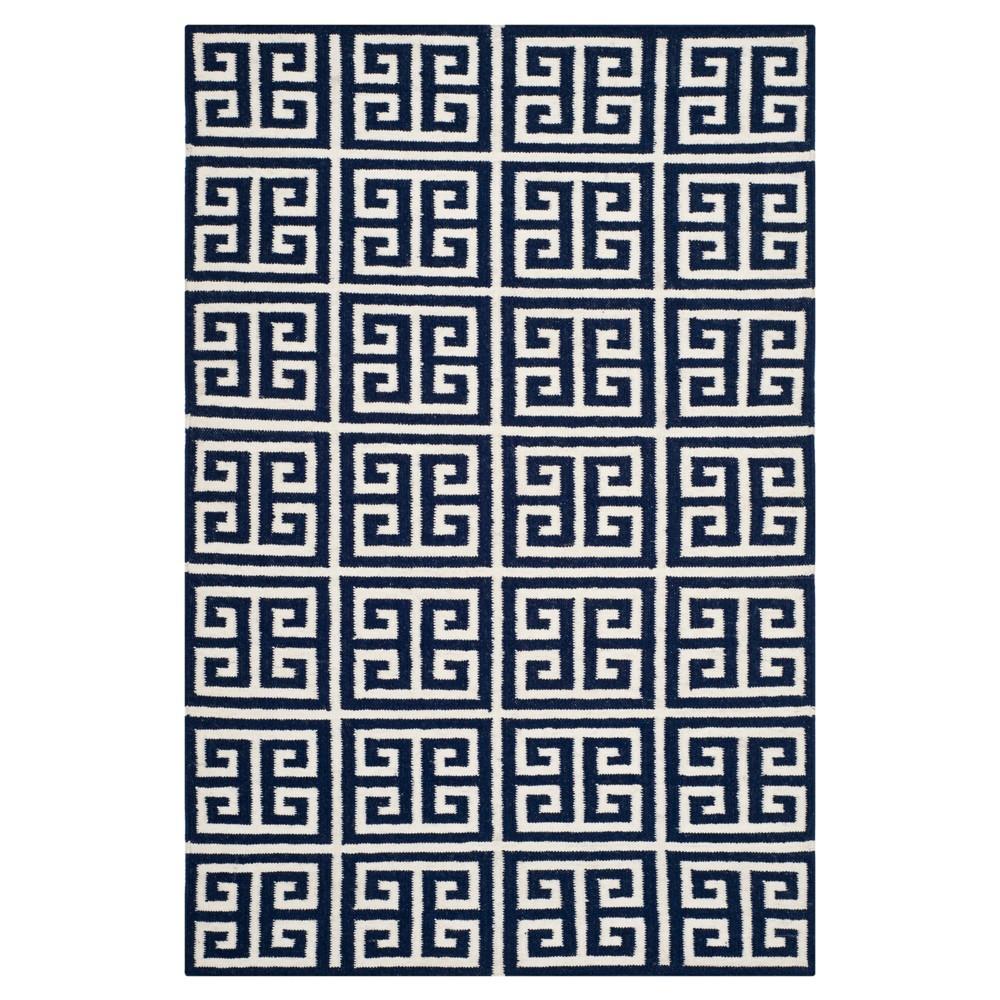 Isabella Dhurrie Area Rug - Navy / Ivory (4' X 6') - Safavieh, Blue/Ivory
