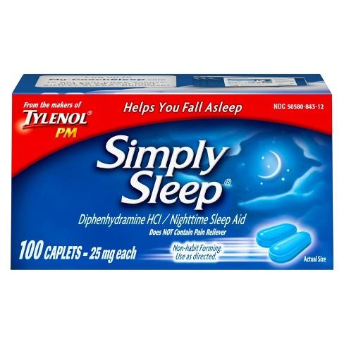 Simply Sleep Non-Habit Forming Nighttime Sleep Aid Caplets - Diphenhydramine  HCI - 100ct