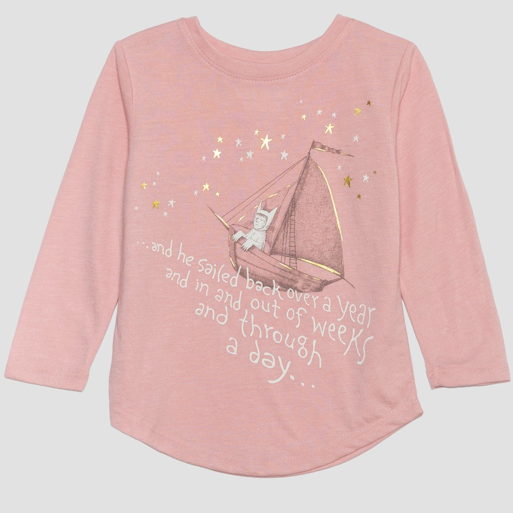 Toddler Girls' Where the Wild Things Are Long Sleeve T-Shirt - Pink 4T