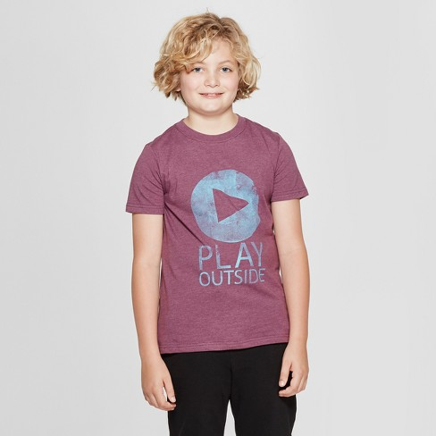 Boys' Short Sleeve Play Outside Graphic T-Shirt - Cat & Jack™ Purple - image 1 of 4