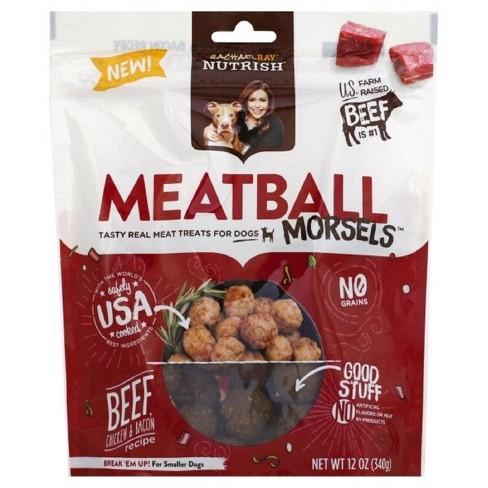Rachael Ray Nutrish Meatball Morsels Grain Free Dog Treats Beef Chicken & Bacon Recipe 12oz - image 1 of 4