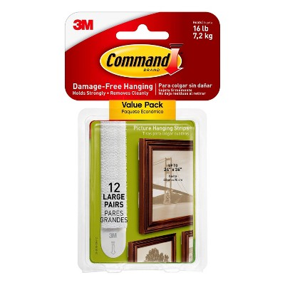 Command Large Sized Picture Hanging Strips (12 Sets of Strips)White
