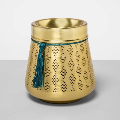 "5"" x 5"" Punched Metal Lantern Electric Scent Warmer Gold - Opalhouse™"