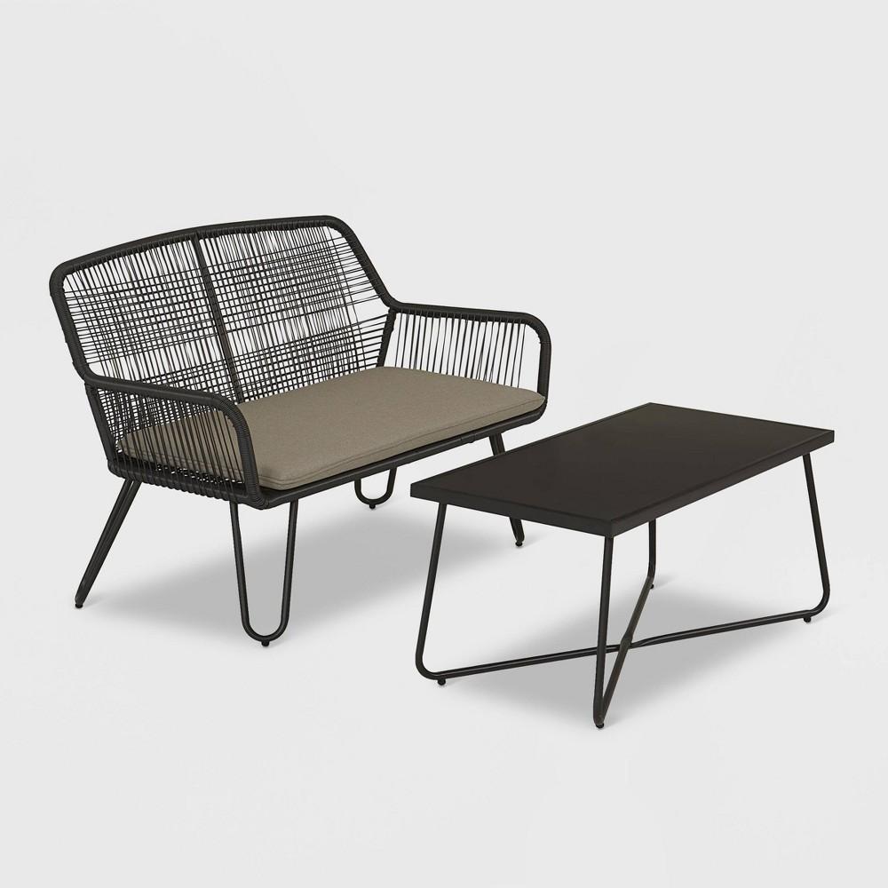 Image of Marli 2pc Loveseat and Coffee Table Patio Set - Charcoal Gray - Novogratz