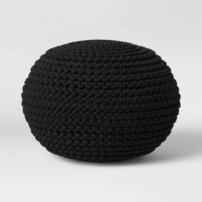 Cloverly Chunky Knit Pouf Black - Threshold™