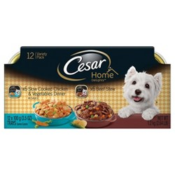 Cesar Home Delights Variety Pack Chicken & Vegetables and Beef Stew Wet Dog Food - 3.5 trays / 12pk