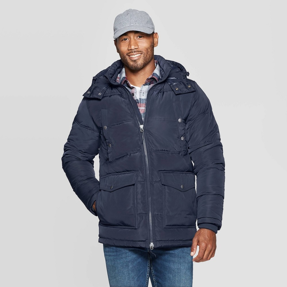 Image of Men's Quilted Puffer Jacket - Goodfellow & Co Navy S, Size: Small, Blue