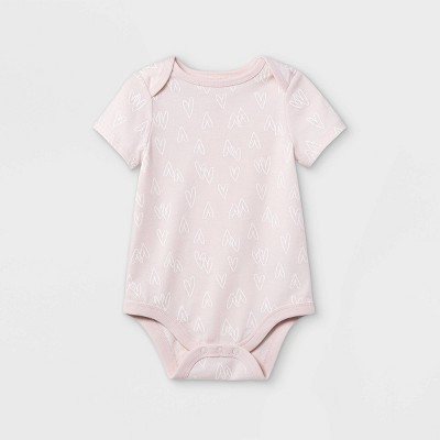 Baby Girls' Heart Short Sleeve Bodysuit - Cat & Jack™ Pink 0-3M