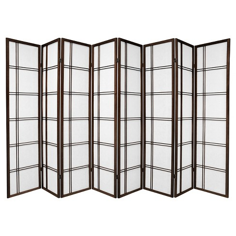 6 ft. Tall Double Cross Shoji Screen - Walnut (8 Panels) - image 1 of 1