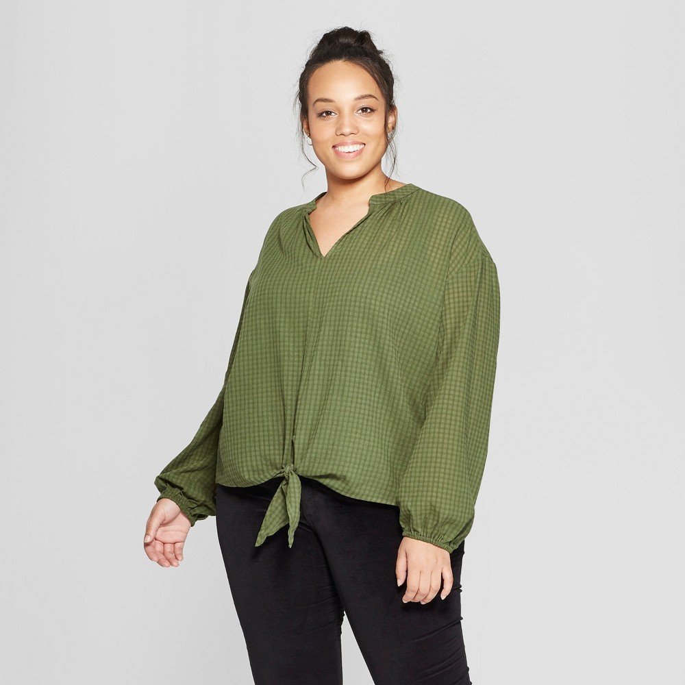 Women's Plus Size Plaid Long Sleeve Tie Front Top - Universal Thread Green 2X