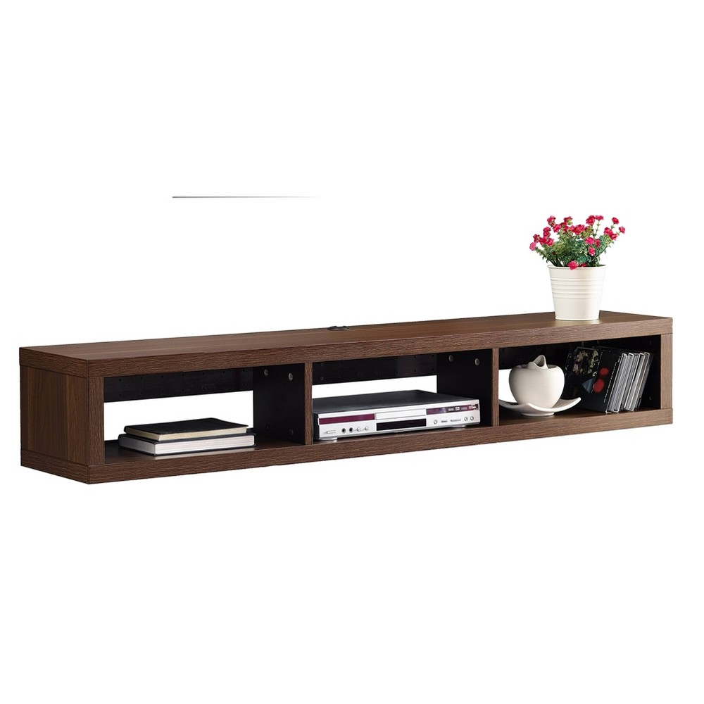 "Image of ""60"""" Wall Mounted Media Console Walnut - Martin Furniture, Size: 60"""", Brown"""