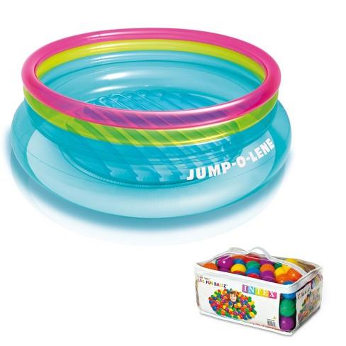 Intex Inflatable Jump-O-Lene Bouncer + 100 Colored Fun Ballz | 48267Ep + 49602Ep - image 1 of 6