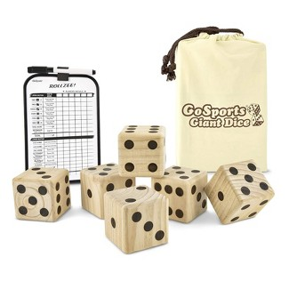 GoSports Giant 3.5inch Wooden Playing Dice Set Family Outdoor Backyard Lawn Game For Kids, Adults, And Family, Natural Finish : Target