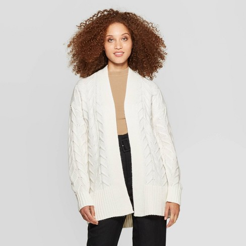 Women's Long Sleeve Rib-Knit Cuff Textured Cardigan Sweater - A New Day™ - image 1 of 3