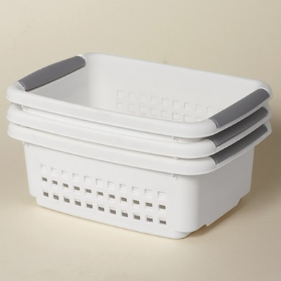 Lakeside Stackable Plastic Storage Baskets with Carry Handles - Set of 3