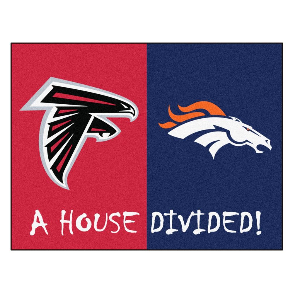 "Fan Mats NFL Denver Broncos/Atlanta Falcons House Divided Rug 33.75""x42.5"""