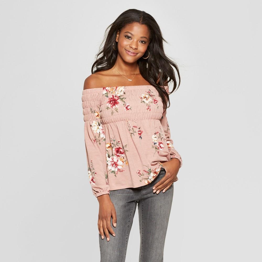 Women's Floral Print Long Sleeve Smocked Off the Shoulder Knit Top - Xhilaration Blush Pink XL