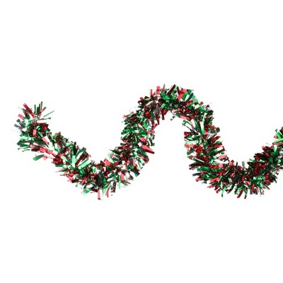 """Northlight 12' x 4"""" Unlit Green/Red Wide Cut Shiny Tinsel Christmas Garland"""