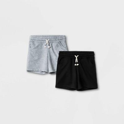 Girls' 2pk Knit Midi Pull-On Shorts - Cat & Jack™ Heather Gray/Black