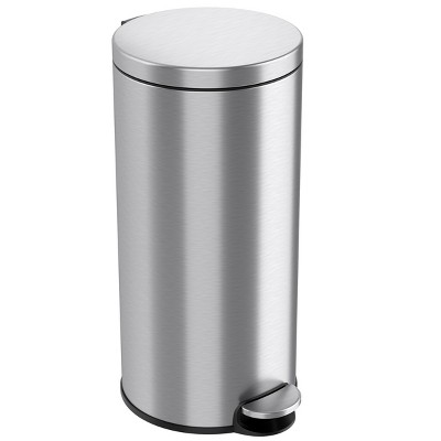 iTouchless Step Pedal Kitchen Trash Can with AbsorbX Odor Filter and Removable Inner Bucket 8 Gallon Round Stainless Steel