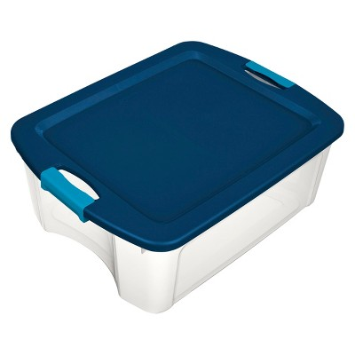 Sterilite 12 Gal Latch & Carry Clear with Blue Lid and Blue Latches