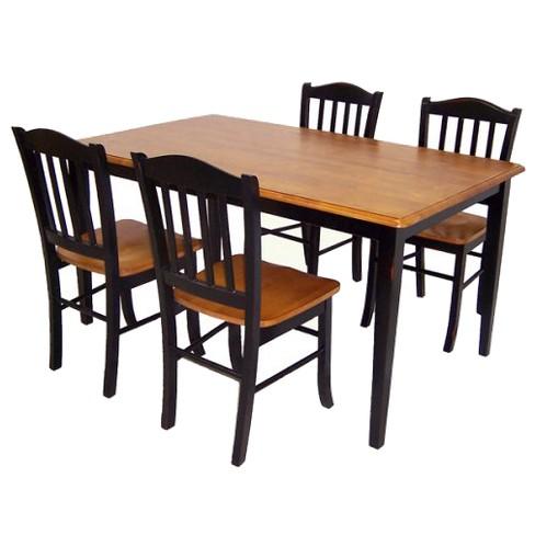 5pc Shaker Dining Set Wood Black Oak Boraam Industries Target