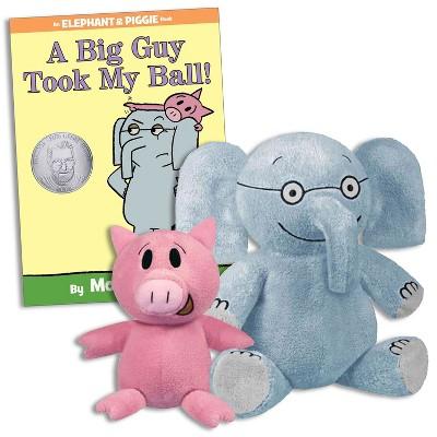 YOTTOY Elephant & Piggie Plush Toy Set & A Big Guy Took My Ball Hardcover Book Set