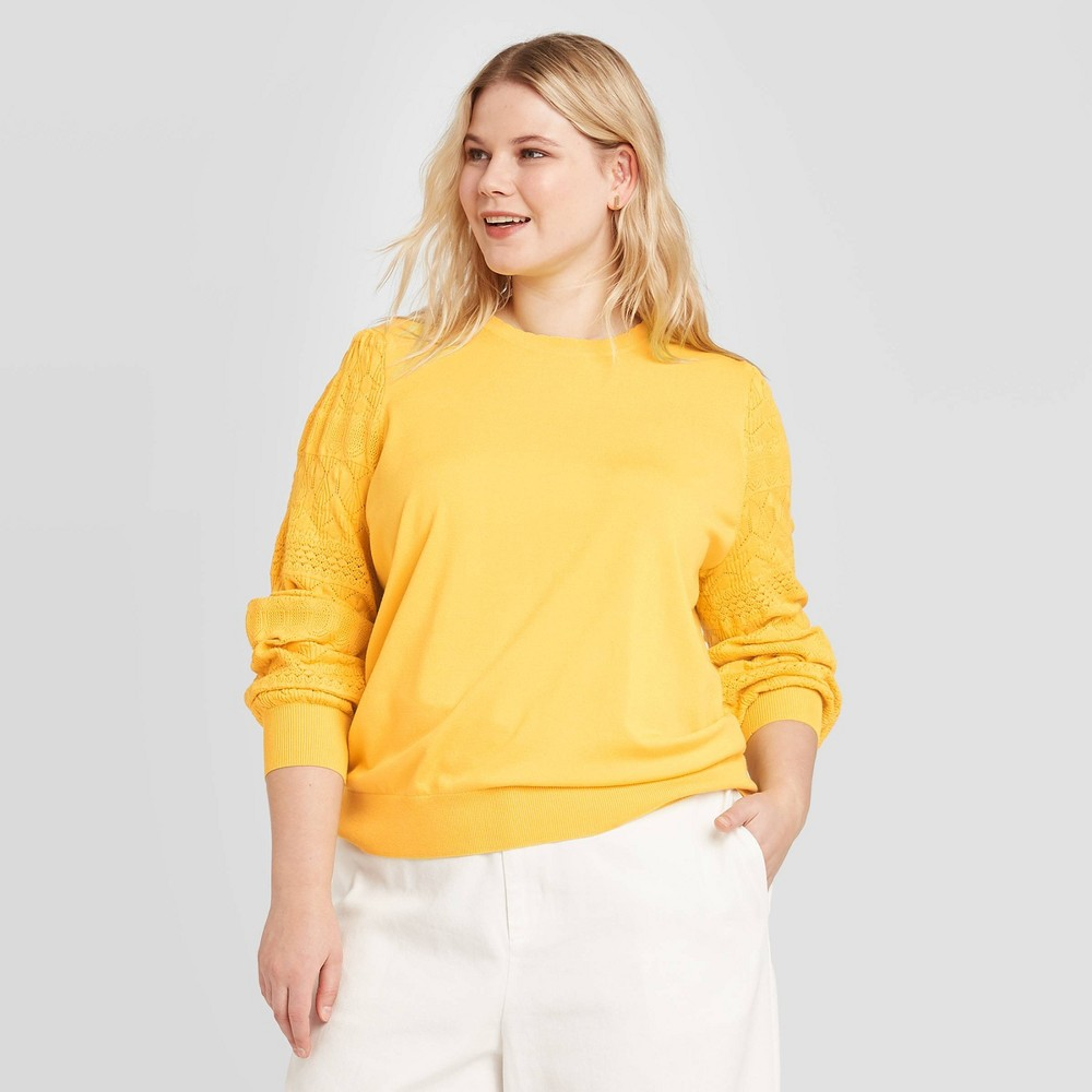 Women's Plus Size Pointelle Crewneck Pullover - Who What Wear Yellow 2X, Women's, Size: 2XL was $29.99 now $20.99 (30.0% off)
