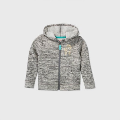 Toddler Girls' Printed Fleece Zip-Up Sweatshirt - Cat & Jack™ Gray 5T