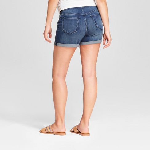 ead890a178866 Maternity Crossover Panel Midi Jean Shorts - Isabel Maternity By Ingrid &  Isabel™ Dark Wash : Target