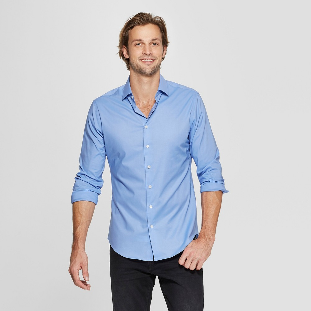 Men's Slim Fit Long Sleeve Woven Button-Down Shirt - Goodfellow & Co Bicycle Blue M