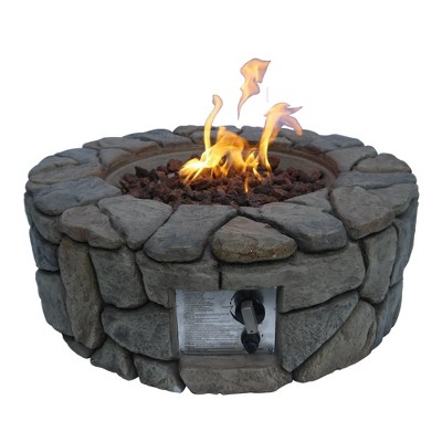 """28"""" Outdoor Round Stone Propane Gas Fire Pit - Peaktop"""