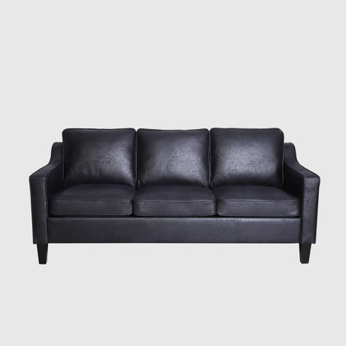 Contemporary Microfiber Sofa Black