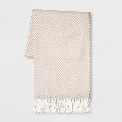 Woven Herringbone Throw Neutral/Cream - Threshold™