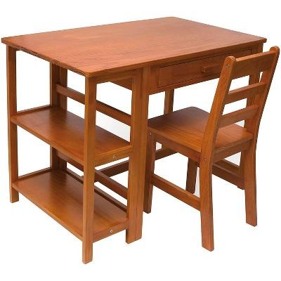 Lipper International Child Work Wooden Study Desk and Chair Set, Pecan Finish