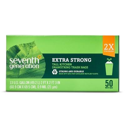 Seventh Generation Extra Strong Tall Kitchen Drawstring Trash Bags - 13 Gallon - 50ct