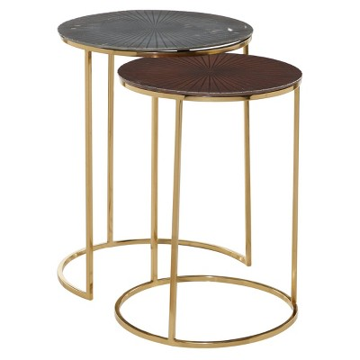 Set of 2 Contemporary Aluminum Accent Tables Gold - Olivia & May