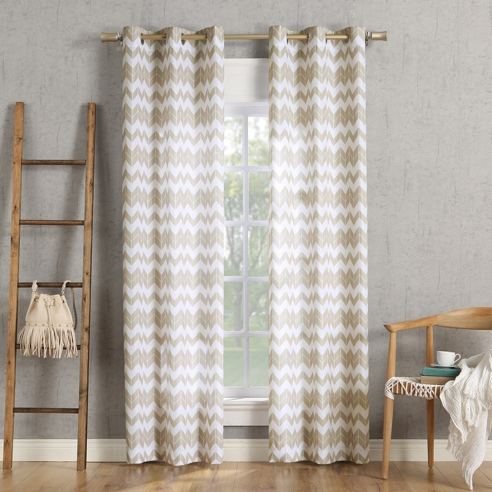 Image of 40x63 Kai Chevron Semi-Sheer Grommet Curtain Panel Taupe-No. 918, Brown