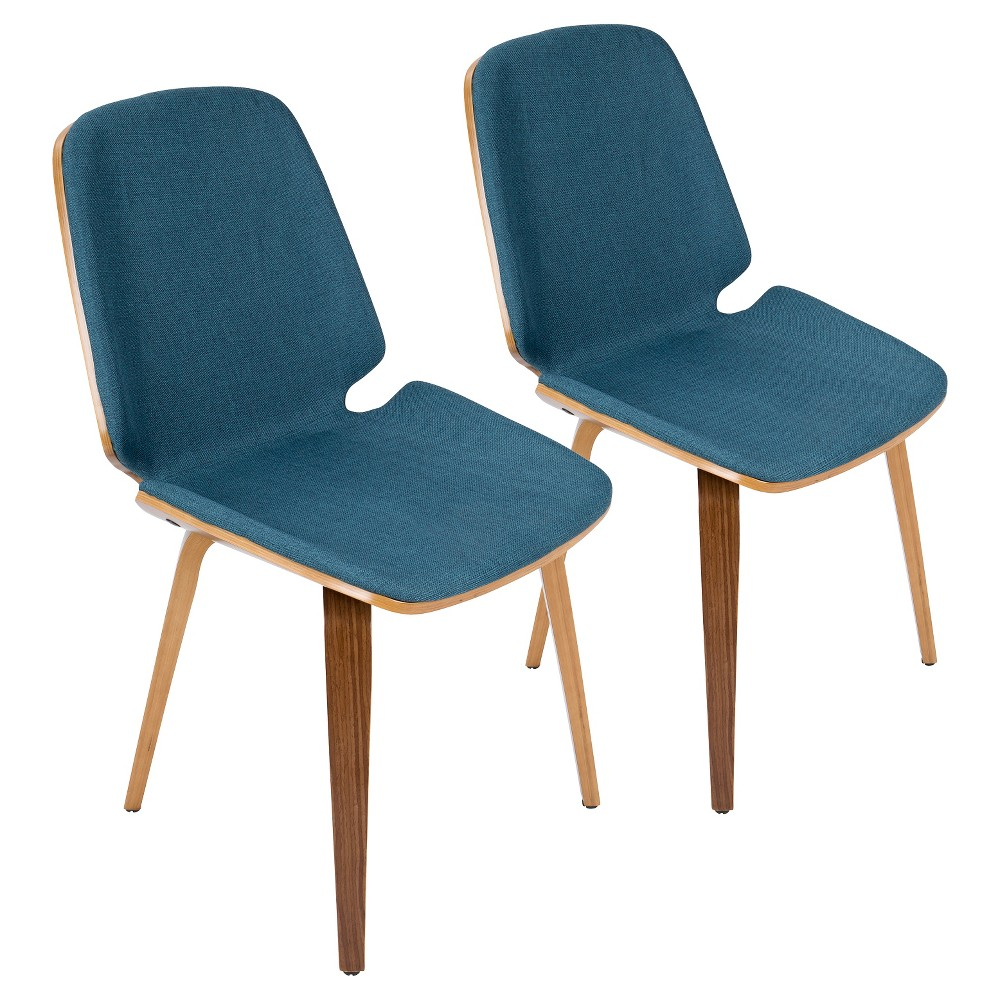 Serena Mid Century Modern Dining Chair (Set of 2) - Blue - LumiSource