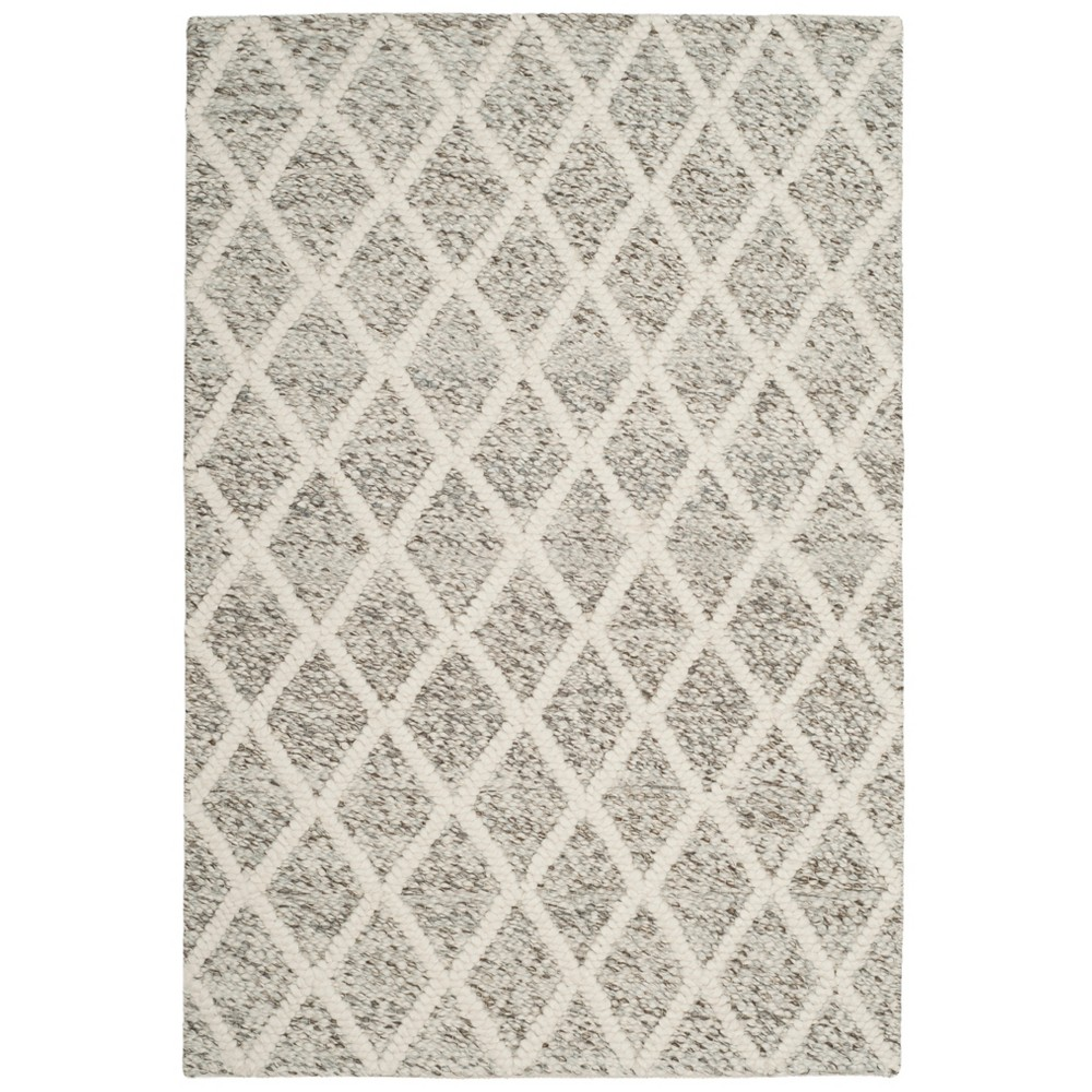4'X6' Woven Diamond Area Rug Ivory/Stone (Ivory/Grey) - Safavieh