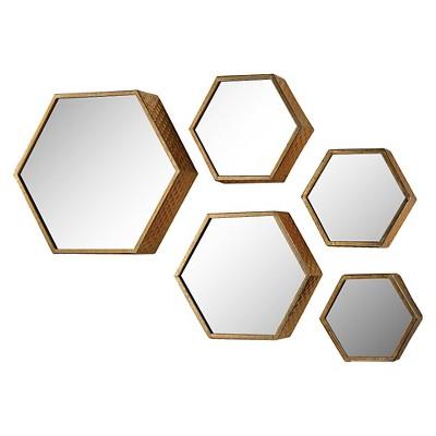 Hexagonal Gold Mirror SetSet of 5 - Lazy Susan